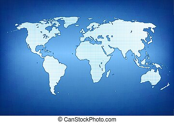 carte, silhouette, continents., illustration, vecteur, cinq, mondiale
