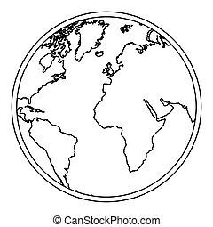 carte, silhouette, continents, mondiale, la terre, icône