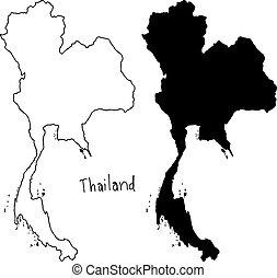 Carte Thailande Noir Et Blanc.Carte Vecteur Illustration Thailande