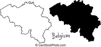 carte, silhouette, contour, -, isolé, illustration, main, lignes, vecteur, arrière-plan noir, belgique, dessiné, blanc
