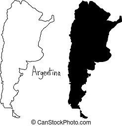 carte, silhouette, contour, -, isolé, illustration, main, lignes, vecteur, arrière-plan noir, dessiné, argentine, blanc