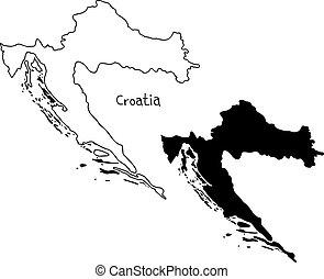 carte, silhouette, contour, -, isolé, illustration, main, lignes, vecteur, croatie, fond, dessiné, blanc, noir