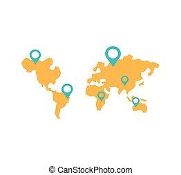 carte, silhouette, planète, emplacement, mondiale, epingles, la terre