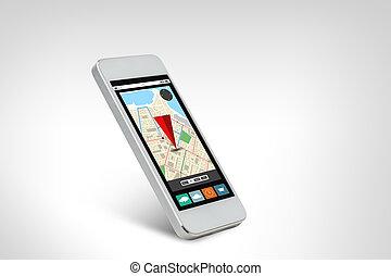 carte, smarthphone, écran, navigateur, blanc, gps