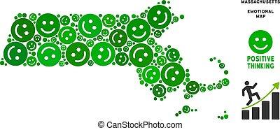 carte, smileys, état, vecteur, massachusetts, composition, bonheur