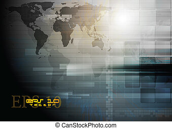 carte, sombre, vecteur, conception, mondiale, technologie