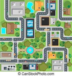 carte, sommet plat, conception, vue ville