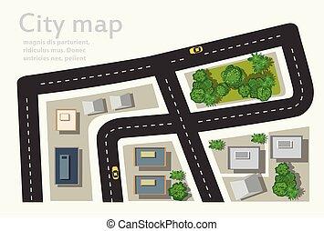 carte, sommet, vue ville