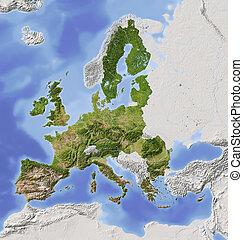 carte, soulagement, union européenne, ombragé