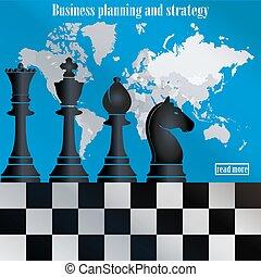 carte, strategy., échecs, business, mondiale