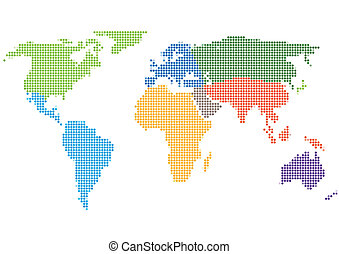 carte, style, continents, point, mondiale