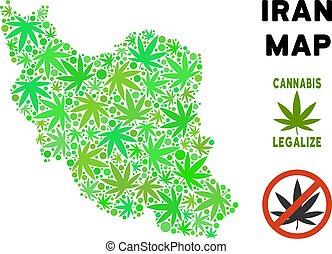 carte, style, iran, feuilles, marijuana, gratuite, redevance