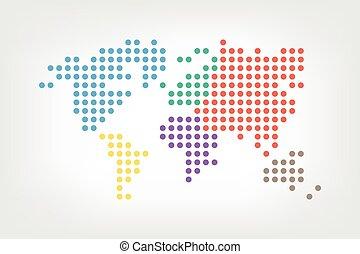 carte, style, pointillé, plat, ), (, conception couleur, mondiale