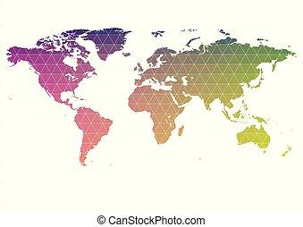 carte, stylization, arc-en-ciel, gradient, planète, mondiale, la terre