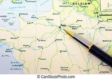 carte, stylo bille