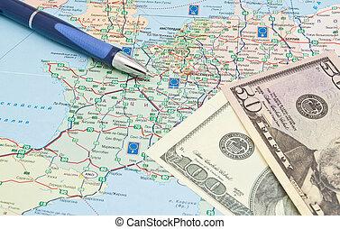 carte, stylo, européen, argent