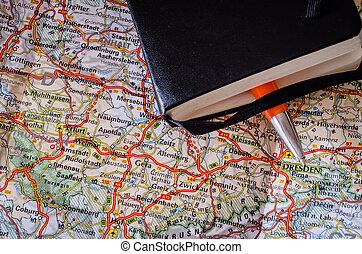 carte, stylo, route