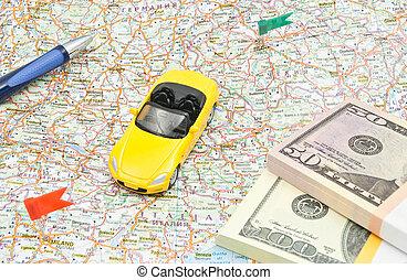 carte, stylo, sport, voiture, argent