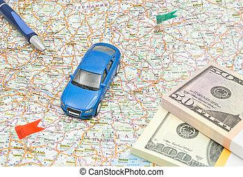 carte, stylo, voiture, argent