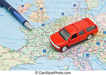 carte, stylo, voiture rouge