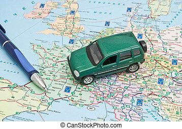 carte, stylo, voiture verte