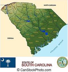 carte, sud, comtés, caroline