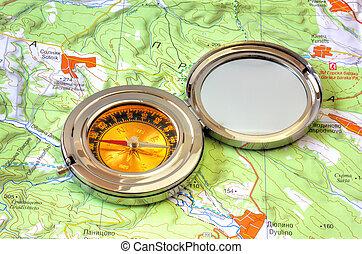 carte, sur, compas