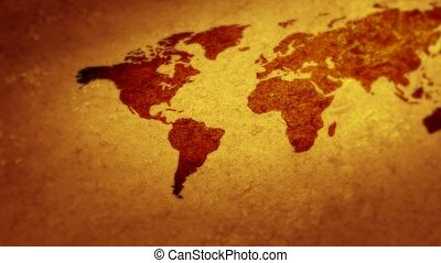 carte, sur, voler, world., mondiale