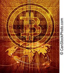 carte, symbole, bitcoin, fond, monde numérique, résumé