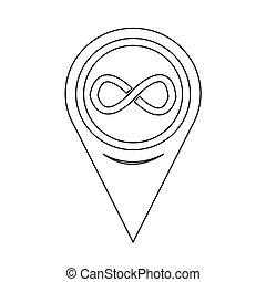 carte, symbole, infinité, indicateur, icône