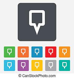 carte, symbole., signe, marqueur, icon., indicateur