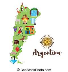 carte, symbols., national, illustration, culturel, argentin, argentine