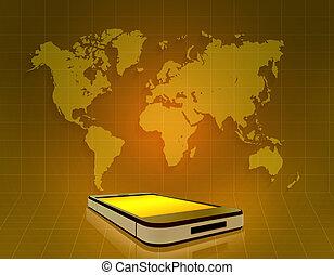 carte, téléphone portable, arrière-plan grille, orange, mondiale