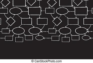 carte, tableau noir, esprit, seamless, craie, modèle fond, horizontal, frontière