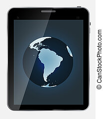 carte, tablette, background..vector, résumé, isolé, illustration, réaliste, conception, mondiale, blanc écran