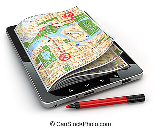 carte, tablette, concept., screen., pc, navigation, guide, gps