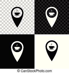 carte, tasse à café, isolé, illustration, arrière-plan., chaud, vecteur, noir, blanc, indicateur, transparent, icône