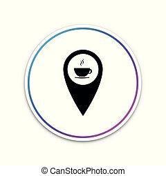 carte, tasse à café, isolé, illustration, button., arrière-plan., chaud, vecteur, blanc, indicateur, cercle, icône