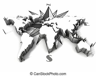 carte terre, compas