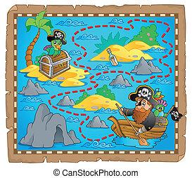 carte, thème, trésor, image, 7