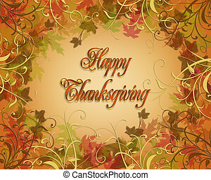 carte, thanksgiving, heureux