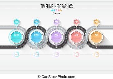 carte, timeline, concept., enroulement, infographic, étapes, roa, 5, navigation