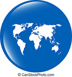 carte, toile, globe, mondiale, icône, la terre, bouton