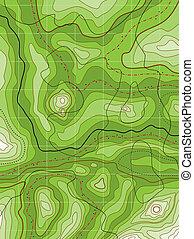 carte topographique, résumé vert