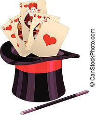 carte, tour magique, chapeau haut de forme, jeu