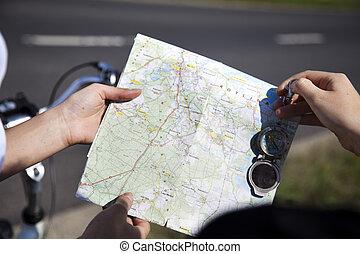 carte, tour, vélo