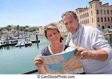 carte, touristique, couple, secteur, regarder, personne agee