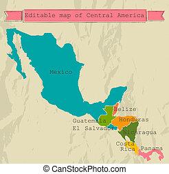 carte, tout, central, editable, countries., amérique