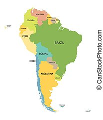 carte, tout, coloré, pays, noms, amérique, sud