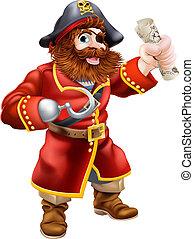 carte, trésor, dessin animé, pirate